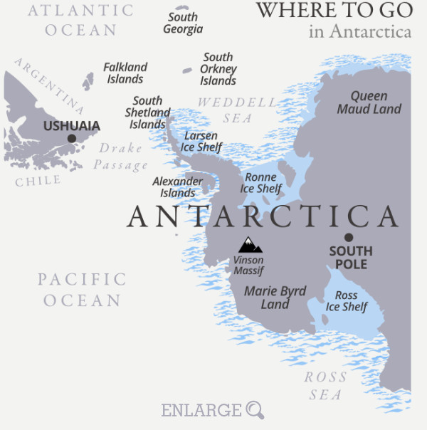 Where to go in Antarctica map